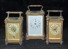 Three French Brass Carriage Clocks