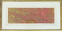Joichi Hoshi Woodblock Print, Red Trees