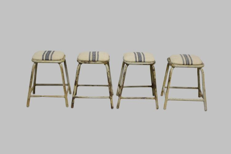 Industrial Stool w/ French feed sack top X-4 18 3/4