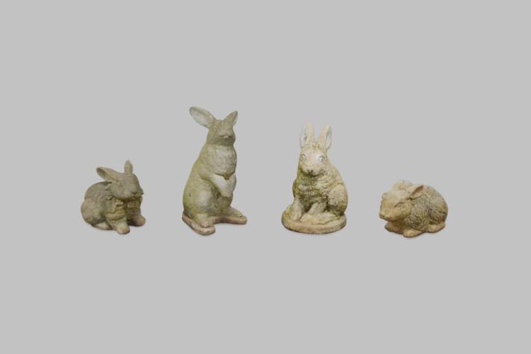 4pc. Lot of Concrete Rabbits 8