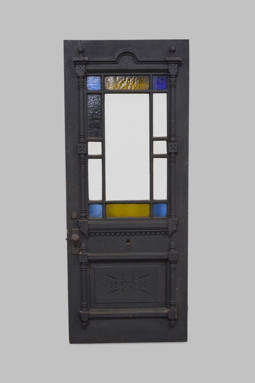 Architectural Painted Door w/ Stain Glass 80 1/4