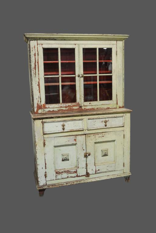 Early 2pc. Pa. Step back Cupboard 78