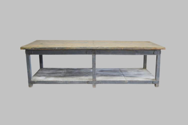 French Industrial Work Table 36 3/4