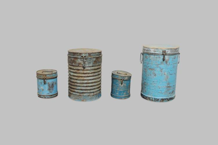 4pc. Lot of Painted Storage Tins 9 1/4