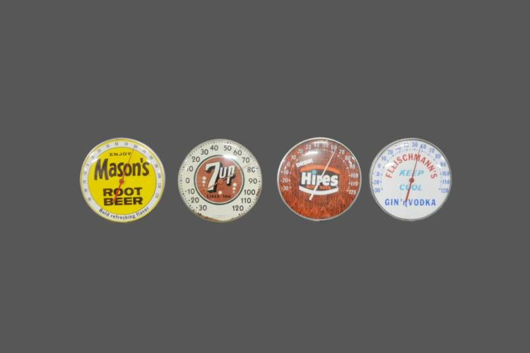4pc. Lot of Advertising Thermometers 7up, Hires, Mason's, Fleischmann's 12