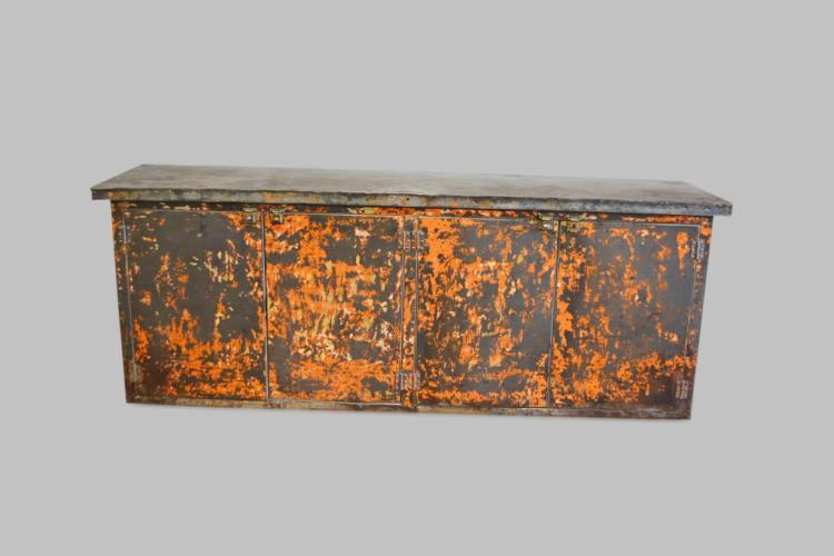 Industrial Metal Work Counter in old weathered surface 37 3/4