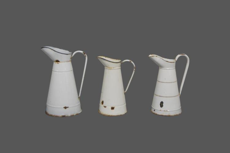 3pc. Porcelain Pitchers 17 1/4
