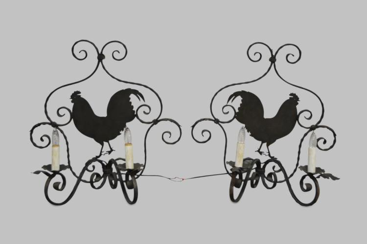 Wrought Iron Wall Sconce w/ Rooster X-2 26 1/2
