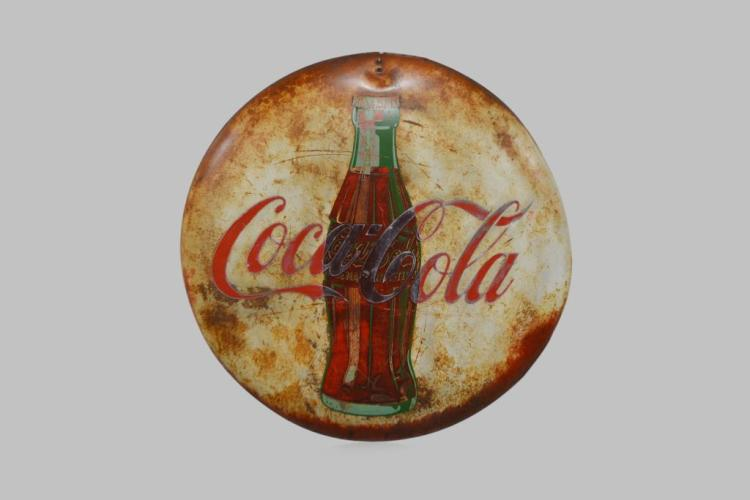 Coca - Cola Button - metal 36 3/4