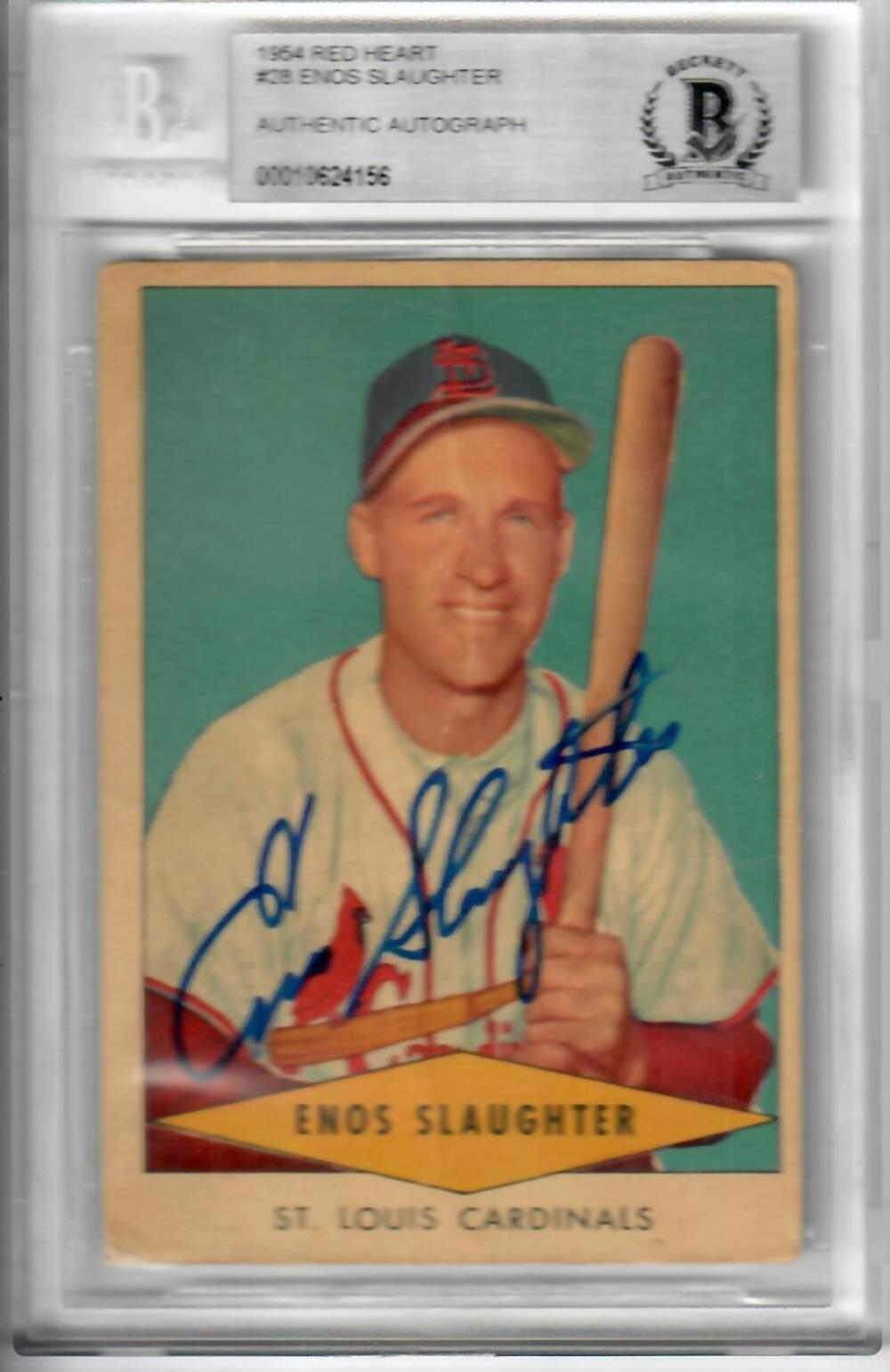 1954 Red Heart Enos Slaughter Baseball Card W Authentic