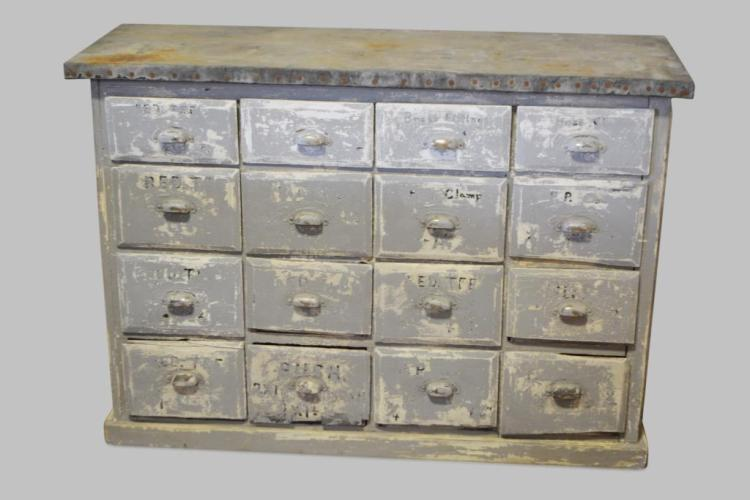 Painted Hardware Store Drawer Unit 36 H 51 L 18 W
