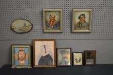 8-Piece Group Lot-early mirrors & paintings
