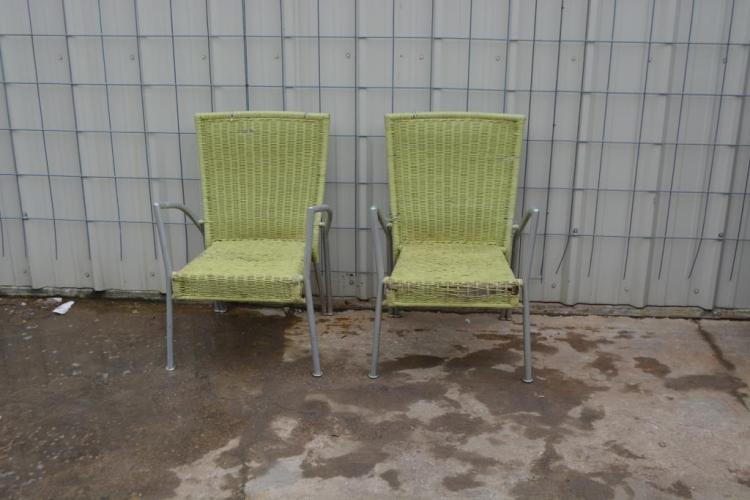 2pc Modern Wicker Chair Lot