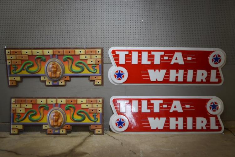 4pc. Lot of Carnival Ride Signs - plastic (2) - 24