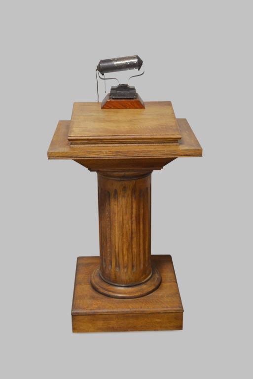 oak lighted podium 47 1 2 h 24 1 2 x 20. Black Bedroom Furniture Sets. Home Design Ideas