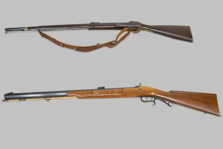2-Piece Lot Antique Black Powder Rifle Thompson Center Arms