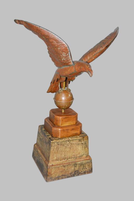 copper eagle mounted weathervane 30 quot h 20 3 4 quot x 17 quot