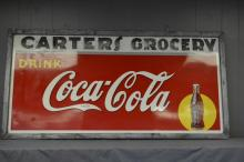 Coca Cola Sign- Tin Carter's Grocery 35 1/2