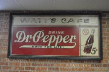 Dr Pepper Sign- Wooden Frame- Tin Watt's Cafe SIZE- 36