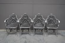 Polished Aluminum Garden Chair X4