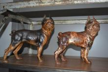 Cast Iron Boston Terrier Doorstop X2