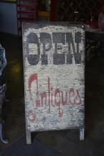Open Antiques Sidewalk Sign 47 3/4