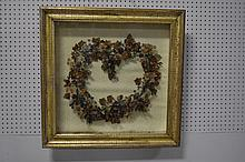 2pc. Lot- Painted Mirror, Framed Vic. Wreath