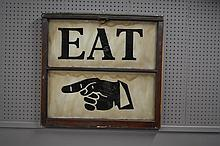 Painted On Glass Eat Sign 29 1/4