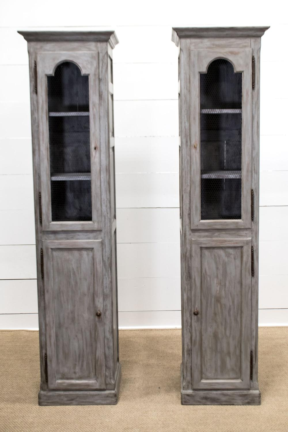 """Late 19th C. Painted Chimney Cabinet X-2 87""""H, 21"""" x 15"""" ea."""