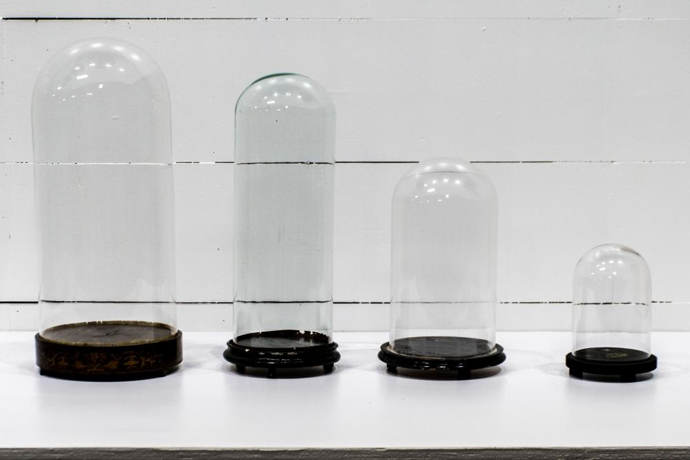 "4pc. Lot of Glass Domes w/ Bases 9 1/2""H, 6/12"" diam. / 15""H, 9"" diam. / 21""H, 8 1/2"" diam. 23 1/2""H, 10 1/2"" diam."