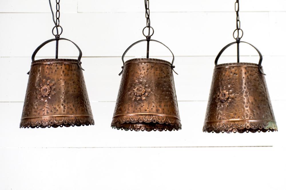 """Copper Hanging Light X-3 17 1/2""""H, 11 1/2"""" diam. ea."""