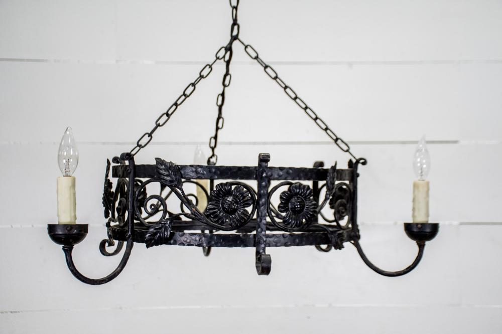 """Vintage French Iron Chandelier 9""""H, 25"""" x 25"""""""