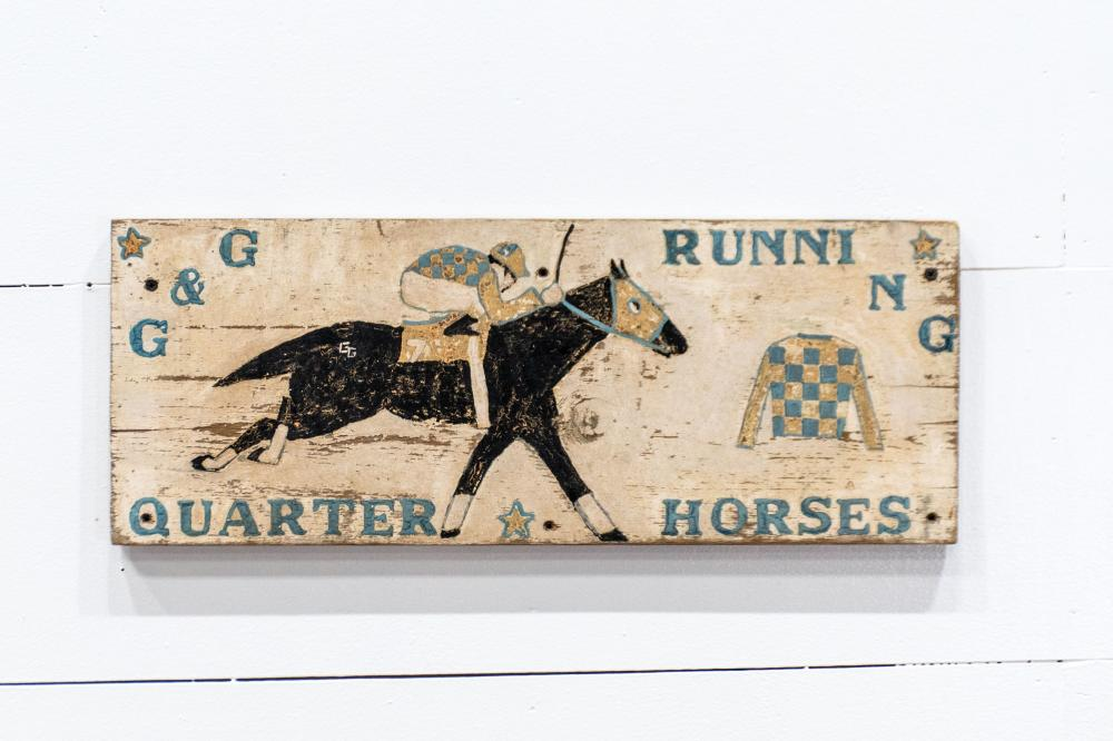 """Running Quarter Horses Sign wood / double sided 9 1/2"""" x 24"""""""