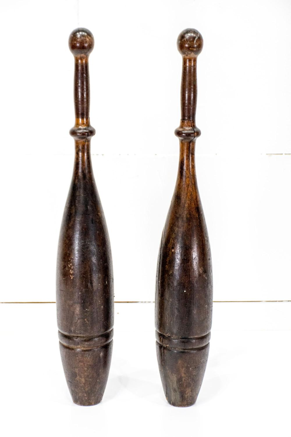 """Pair of Early Wooden Medicine Pins 24""""H ea."""