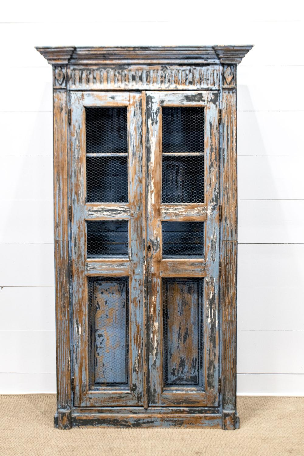 """French Painted Two Door Cupboard 87""""H, 48"""" x 22"""""""
