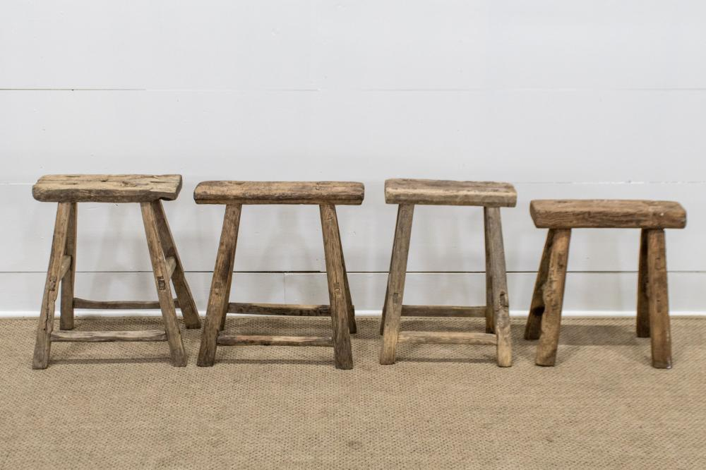 """4pc. Lot of Rustic Mortised Stools 20 1/2""""H / 20""""H / 19 1/2""""H / 18""""H"""