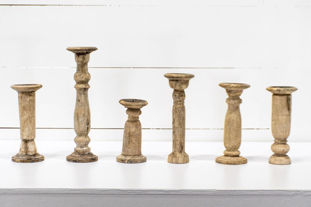 """6pc. Lot of Architectural Candle Stands 12 1/2""""H / 18 1/2""""H / 10""""H / 14""""H / 12 1/2""""H / 12""""H"""