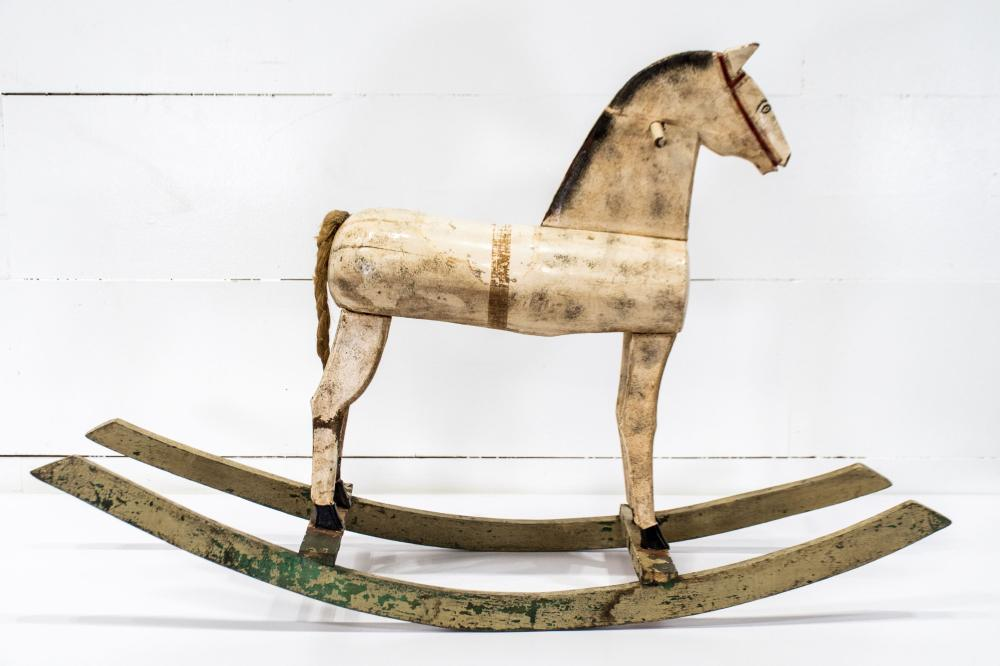 """Late 19th C. French Painted Child's Hobby Horse 27 1/2""""H, 43"""" x 12 1/2"""""""