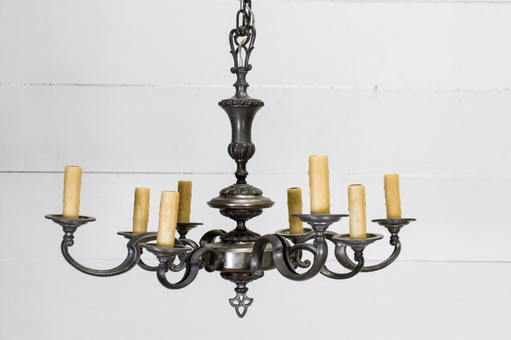 """Vintage French Pewter Nickel Chandelier 20 1/2""""H, 27"""" x 27"""""""
