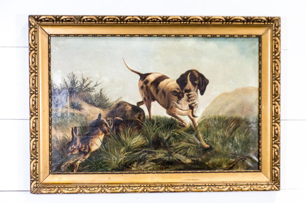 """Oil on Canvas - Hunting Dog Scene 28"""" x 39 1/2"""""""