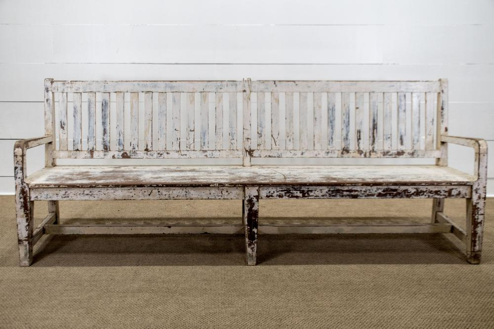 """19th C. Country Estate Painted Bench 37 1/2""""H, 96"""" x 22"""""""