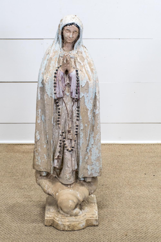 "Concrete Virgin Mary 38 1/2""H, 12 1/2"" x 10"""