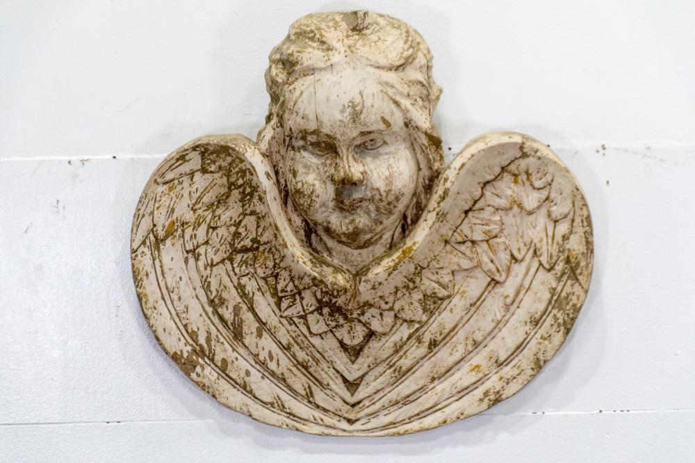"""19th C. Carved Painted Angel 19"""" x 20"""""""
