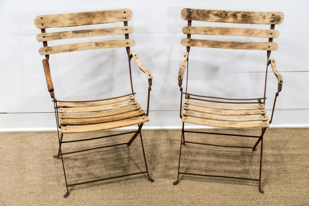 """Pair of French Folding Iron and Wood Garden Chairs 36""""H, 21"""" x 21"""" ea."""