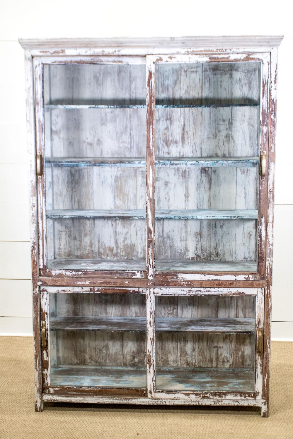 """Painted Late 19th C. Cabinet w/ Sliding Doors 80 1/2""""H, 53"""" x 17 1/2"""""""