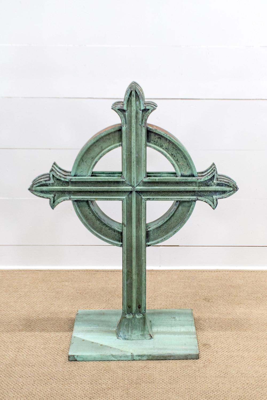 "Celtic Copper Cross 47 1/2""H, 36 1/2"" x 17 1/2"""