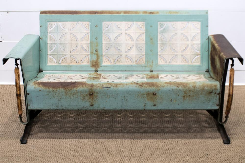 """Painted Metal Porch Glider 32 1/2""""H, 65"""" x 30"""""""