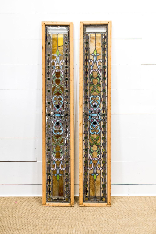 "Chicago Mosaic Stain Glass Window X-2 81 1/2"" x 14"" ea."