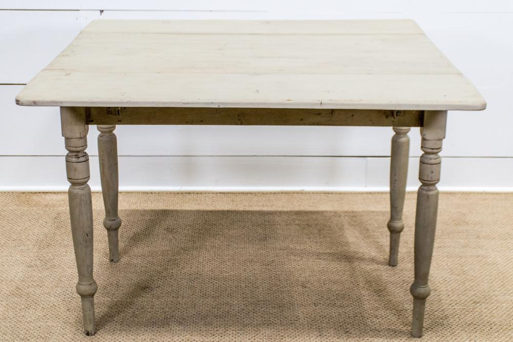 """19th C. Painted Drop Leaf Work Table w/ Drawer 30""""H, 40 1/2"""" x 42"""" (down - 21 1/2"""")"""