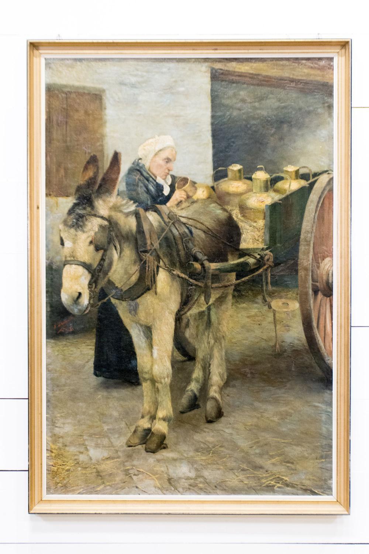 "19th C. Oil on Board - Market Lady 73"" x 50"""